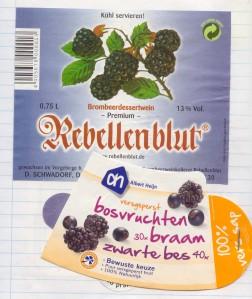Brombeerwein aus Deutschland und Waldfruchtsaft aus den Niederlanden