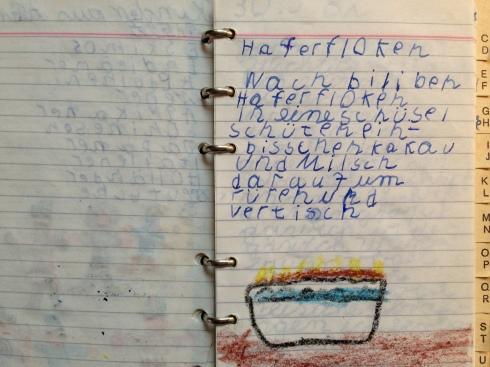 Rezept für Haferflocken mit Kakao, um 1982