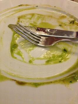 Kein Schaum, keine Mousse und keine Essenz, sondern Erbspüree – zumindest die Reste davon, Köln 2014