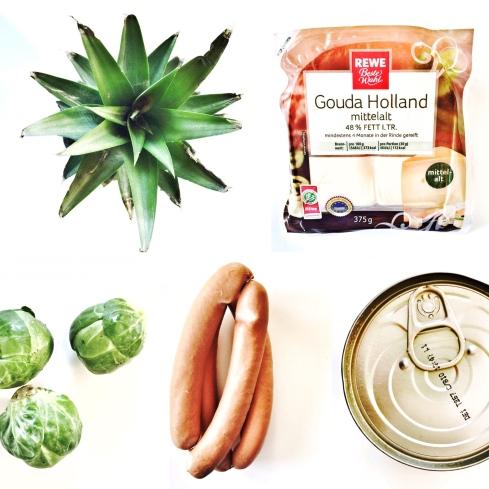Ananas, Gouda, Rosenkohl, Wiener Würstchen und Dosentomaten