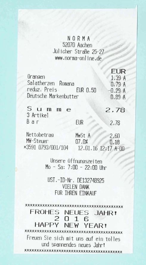 Kassenzettel 006, Aachen 2016