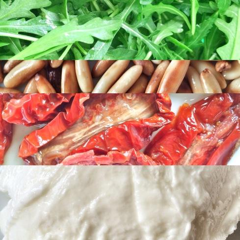 Mozzarella, getrocknete Tomaten, Pinienkerne, Rucola