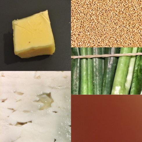 Frühlingszwiebel, Feta, Couscous, Bouillon, Butter