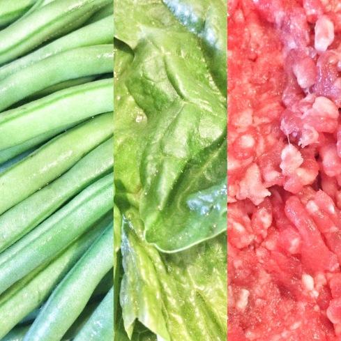 Bohnen, Spinat, Hackfleisch