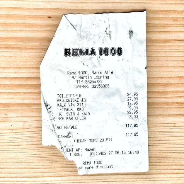 Kassenzettel, Rema 1000, Århus 2016