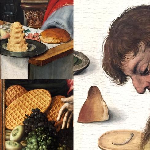 Quinten Massys | Die thronende Madonna | um 1525 Meister des Hausbuchs | Das Abendmahl | um 1475/80 Pieter Aertsen | Marktfrau am Gemüsestand | 1567